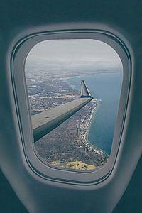 In het vliegtuig boven Kopenhagen