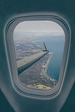 Im Flugzeug über Kopenhagen von