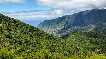 Berghang mit üppiger grüner Vegetation vor Berg und Himmel mit Wolken von Hans-Heinrich Runge