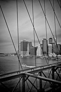 NYC View from Brooklyn Bridge | Monochrome