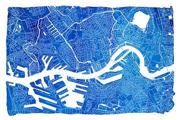 Rotterdam | Plan de la ville bleu | Avec cadre blanc sur - Wereldkaarten.shop -