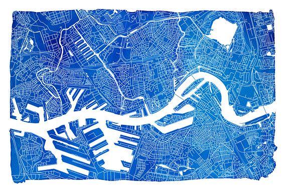 Rotterdam | Stadskaart Blauw | Met witte kader