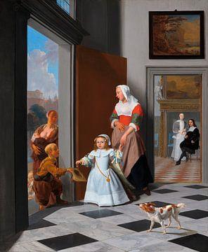 Eine Krankenschwester und ein Kind in einem eleganten Foyer, Jacob Ochtervelt