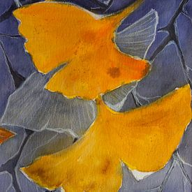 Herinnering - bladeren van ginkgo van Christine Nöhmeier