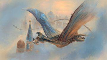 Drache fliegt über der Stadt von Atelier Liesjes