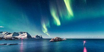 Nordlichter über dem Meer, Nordnorwegen von Sascha Kilmer