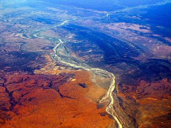 Luchtfoto van het Rode Centrum, Outback, Australië