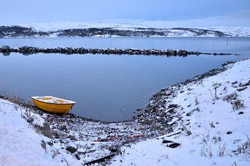 Geel roeibootje in winterlandschap, Noorwegen van Gerda Beekers