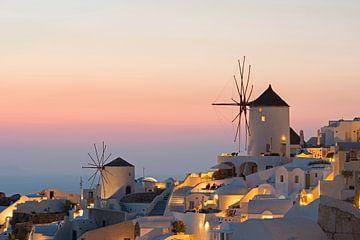 Zonsondergang bij Oia, Santorini van