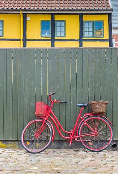 Rode fiets staat voor een groene schutting in Ribe Denemarken van Marc Venema