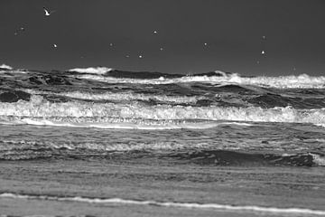 Noordzee storm golven. van Jan Brons