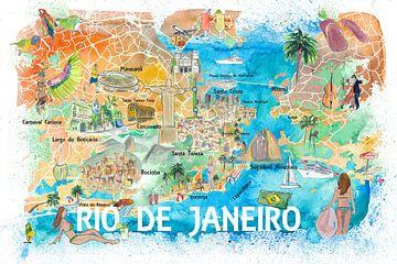 Illustrierte Karte von Rio de Janeiro mit Orientierungspunkten und Höhepunkten der Hauptstraßen von Markus Bleichner