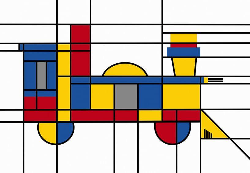 Piet Mondrian-locomotief van Marion Tenbergen