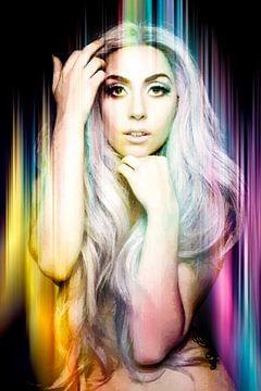 Lady Gaga Nude Modern Abstract Portrait in Blau, Rosa, Gelb von Art By Dominic
