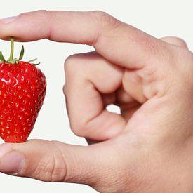 Een rode rijpe aarbei gepresenteerd tussen twee vingers van Henk van den Brink