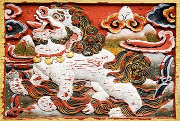 Relief van een leeuw in Bhutan