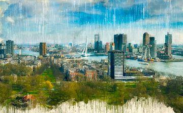 Rotterdam Geschilderde Skyline van Arjen Roos