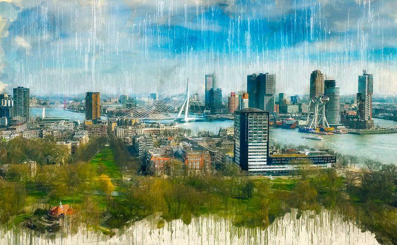 Rotterdams gemalte Skyline von Arjen Roos