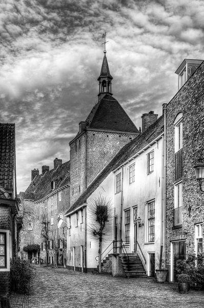 Dieven- of Plompetoren Muurhuizen historisch Amersfoort zwartwit van Watze D. de Haan