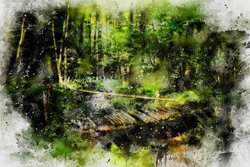 Die Brücke im Wald von Claudia Evans