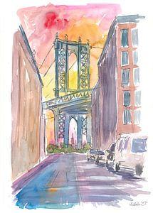 Ganz besonderer Blick auf die Manhattan Bridge New York bei Sonnenuntergang