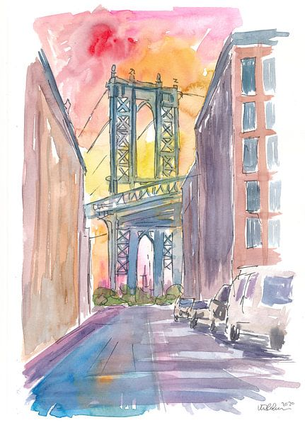 Ganz besonderer Blick auf die Manhattan Bridge New York bei Sonnenuntergang von Markus Bleichner