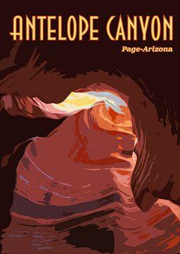 Vintage Poster Antelope Canyon, Page Arizona USA van Discover Dutch Nature