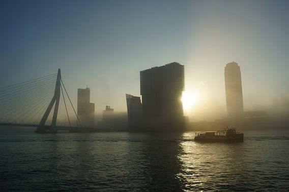 Rotterdam in de mist van Michel van Kooten