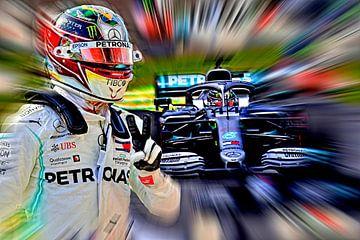 Wereldkampioen 2019 - Lewis Hamilton // Versie II (donkerder) van Jean-Louis Glineur alias DeVerviers