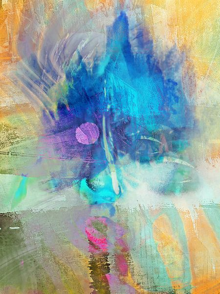 The blue abstract face van Gabi Hampe
