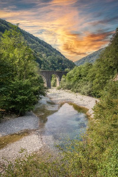 Rivier Baca - Klavže - Slovenië van Mart Houtman