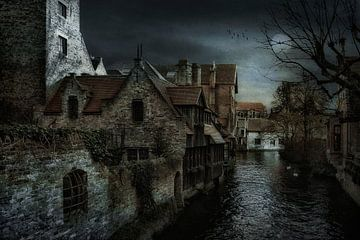 Stukje Brugge  vanaf Bonifaciusbrug van Tejo Coen