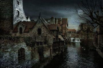 Stukje Brugge  vanaf Bonifaciusbrug von Tejo Coen