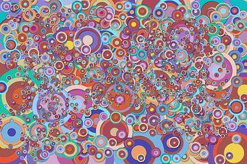 Abstract werk met cirkels 'Herfst' van Ton Kuijpers