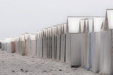 des chalets de plage aux couleurs pastel sur Yvonne Blokland