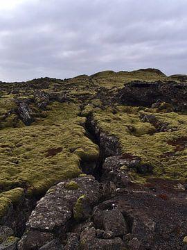 Vulkanisch landschap met spleet van Timon Schneider