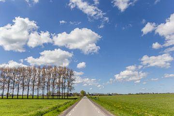 Gerade Straße durch die flache Landschaft von Groningen von Marc Venema