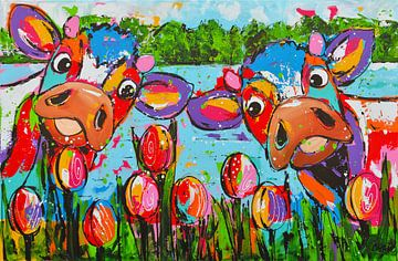 Vrolijke koeien met tulpen van Vrolijk Schilderij