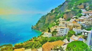 Amalfikust - Uitzicht op Zee bij Positano - Schilderij van Schildersatelier van der Ven