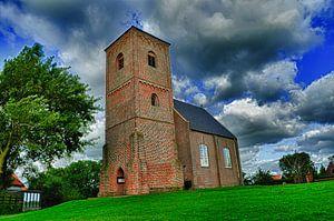 Kerk in landschap, Stompetoren Spaarndam van