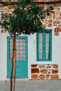 türkisfarbene Tür und Fenster blau| süßes kleines Haus auf Ibiza | bunte Reisefotografie von Lisanne Koopmans
