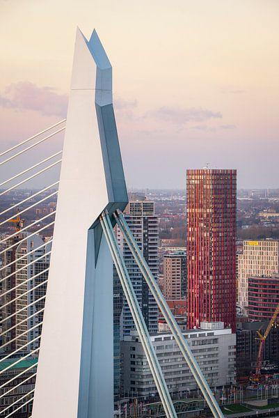 Erasmusbrug en Red Apple  vanuit De Rotterdam van Prachtig Rotterdam