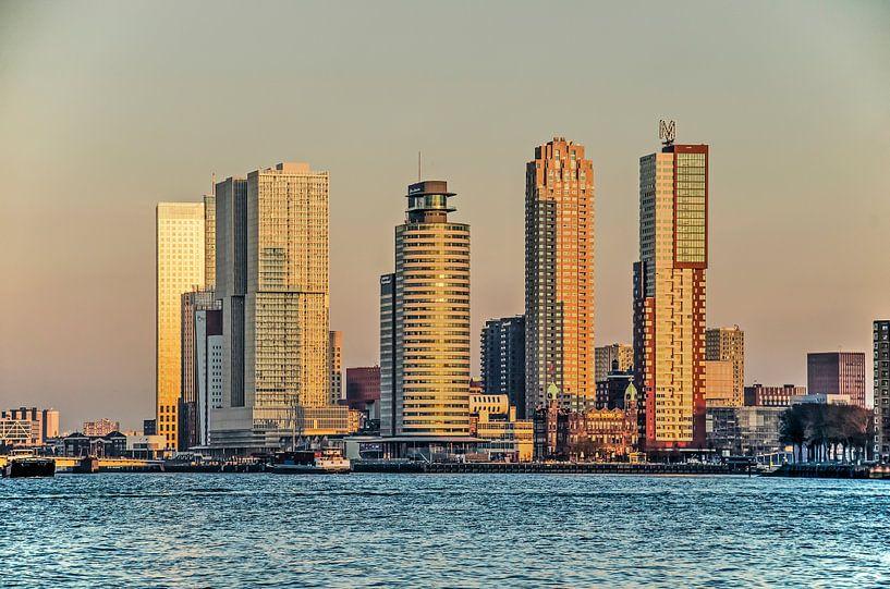 Rotterdam Wilhelminapier in het gouden uur van Frans Blok