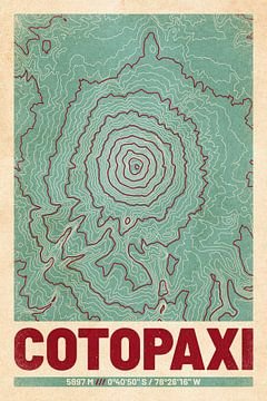 Cotopaxi | Landkarte Topografie (Retro) von ViaMapia