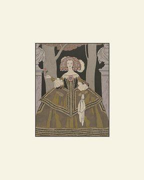 La dame | La femme à la rose | Impression de mode Art déco historique sur NOONY