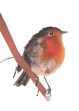Roodborstje bijzondere vogel illustratie van Angela Peters