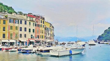 Boten bij Portofino - Italie - Italiaanse Riviera - Schilderij