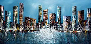 Blaue Skyline von Gena Theheartofart