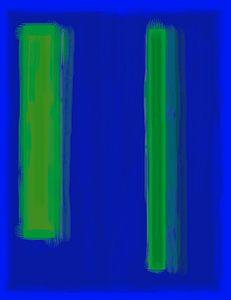 Abstract schilderij met blauw en groen