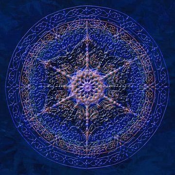 Mandala, bleu royal. Avec épaissie, les lignes en relief. sur Rietje Bulthuis